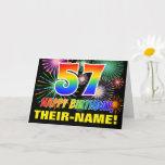 [ Thumbnail: 57th Birthday: Bold, Fun, Fireworks, Rainbow 57 Card ]