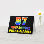 [ Thumbnail: 57th Birthday: Bold, Fun, Simple, Rainbow 57 Card ]