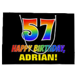 [ Thumbnail: 57th Birthday: Bold, Fun, Simple, Rainbow 57 Gift Bag ]