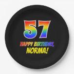 [ Thumbnail: 57th Birthday: Bold, Fun, Simple, Rainbow 57 Paper Plate ]