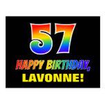 [ Thumbnail: 57th Birthday: Bold, Fun, Simple, Rainbow 57 Postcard ]