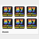 [ Thumbnail: 57th Birthday: Bold, Fun, Simple, Rainbow 57 Sticker ]