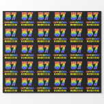 [ Thumbnail: 57th Birthday: Bold, Fun, Simple, Rainbow 57 Wrapping Paper ]