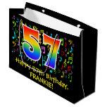 [ Thumbnail: 57th Birthday - Colorful Music Symbols, Rainbow 57 Gift Bag ]