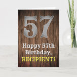 [ Thumbnail: 57th Birthday: Country Western Inspired Look, Name Card ]