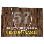 [ Thumbnail: 57th Birthday: Country Western Inspired Look, Name Gift Bag ]