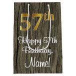 [ Thumbnail: 57th Birthday: Elegant Faux Gold Look #, Faux Wood Gift Bag ]