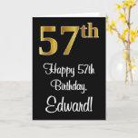 [ Thumbnail: 57th Birthday ~ Elegant Luxurious Faux Gold Look # Card ]