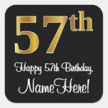 [ Thumbnail: 57th Birthday – Elegant Luxurious Faux Gold Look # Sticker ]