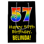 "[ Thumbnail: 57th Birthday: Fun, Bold, Colorful, Rainbow ""57"" Gift Bag ]"