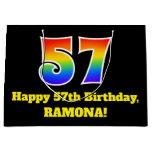 [ Thumbnail: 57th Birthday ~ Fun, Colorful, Vibrant, Rainbow 57 Gift Bag ]