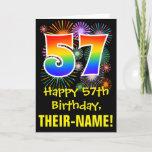 [ Thumbnail: 57th Birthday: Fun Fireworks Pattern + Rainbow 57 Card ]
