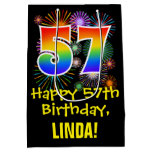 [ Thumbnail: 57th Birthday: Fun Fireworks Pattern + Rainbow 57 Gift Bag ]