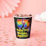 [ Thumbnail: 57th Birthday: Fun Fireworks Pattern + Rainbow 57 ]