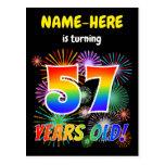 "[ Thumbnail: 57th Birthday - Fun Fireworks, Rainbow Look ""57"" Postcard ]"