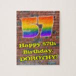 [ Thumbnail: 57th Birthday: Fun Graffiti-Inspired Rainbow 57 Jigsaw Puzzle ]