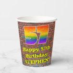 [ Thumbnail: 57th Birthday: Fun Graffiti-Inspired Rainbow 57 ]