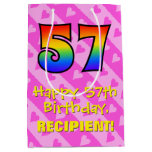 [ Thumbnail: 57th Birthday: Fun Pink Hearts Stripes; Rainbow 57 Gift Bag ]