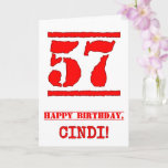[ Thumbnail: 57th Birthday: Fun, Red Rubber Stamp Inspired Look Card ]