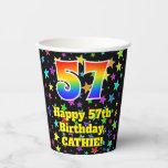 [ Thumbnail: 57th Birthday: Fun Stars Pattern and Rainbow 57 ]