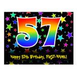 [ Thumbnail: 57th Birthday: Fun Stars Pattern, Rainbow 57, Name Postcard ]