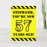 [ Thumbnail: 57th Birthday: Fun Stencil Style Text, Custom Name Card ]