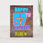 [ Thumbnail: 57th Birthday - Fun, Urban Graffiti Inspired Look Card ]
