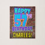 [ Thumbnail: 57th Birthday ~ Fun, Urban Graffiti Inspired Look Jigsaw Puzzle ]