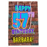 [ Thumbnail: 57th Birthday: Fun, Urban Graffiti Inspired Look Gift Bag ]