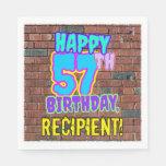 [ Thumbnail: 57th Birthday ~ Fun, Urban Graffiti Inspired Look Napkins ]