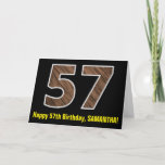 "[ Thumbnail: 57th Birthday: Name + Faux Wood Grain Pattern ""57"" Card ]"
