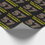 "[ Thumbnail: 57th Birthday: Name & Faux Wood Grain Pattern ""57"" Wrapping Paper ]"