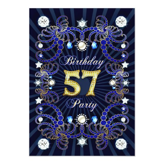 57th birthday party invite with masses of jewels