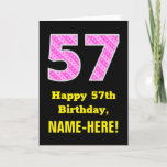 "[ Thumbnail: 57th Birthday: Pink Stripes and Hearts ""57"" + Name Card ]"
