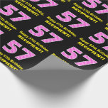 """[ Thumbnail: 57th Birthday: Pink Stripes and Hearts """"57"""" + Name Wrapping Paper ]"""