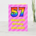 [ Thumbnail: 57th Birthday: Pink Stripes & Hearts, Rainbow # 57 Card ]