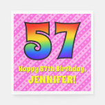 [ Thumbnail: 57th Birthday: Pink Stripes & Hearts, Rainbow # 57 Napkins ]