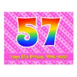 [ Thumbnail: 57th Birthday: Pink Stripes & Hearts, Rainbow 57 Postcard ]