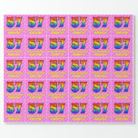[ Thumbnail: 57th Birthday: Pink Stripes & Hearts, Rainbow # 57 Wrapping Paper ]