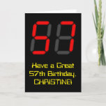 "[ Thumbnail: 57th Birthday: Red Digital Clock Style ""57"" + Name Card ]"