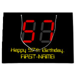 "[ Thumbnail: 57th Birthday: Red Digital Clock Style ""57"" + Name Gift Bag ]"