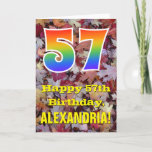 "[ Thumbnail: 57th Birthday; Rustic Autumn Leaves; Rainbow ""57"" Card ]"