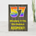 "[ Thumbnail: 57th Birthday: Rustic Faux Wood Look, Rainbow ""57"" Card ]"