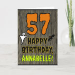 [ Thumbnail: 57th Birthday: Spooky Halloween Theme, Custom Name Card ]