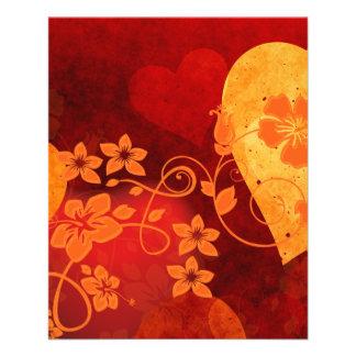 588088 ORANGE RED HIBISCUS HEARTS LOVE BACKGROUNDS FLYER
