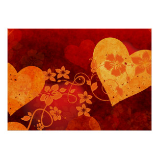 588088 ORANGE RED HIBISCUS HEARTS LOVE BACKGROUNDS POSTER