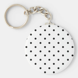 589_polka-dots-09-overlay BLACK WHITE POLKADOTS DO Basic Round Button Keychain
