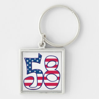 58 Age USA Silver-Colored Square Keychain