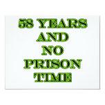 58 ninguna hora de prisión invitación 10,8 x 13,9 cm