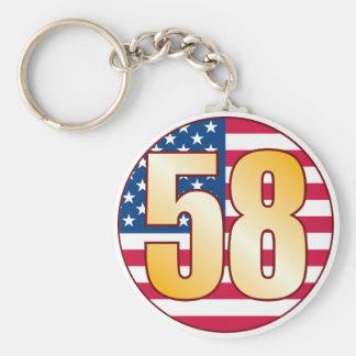 58 USA Gold Basic Round Button Keychain